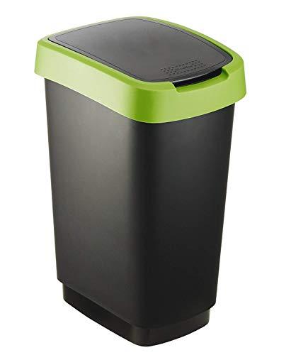 Rotho Twist Mülleimer 25l mit Deckel, Kunststoff (PP) BPA-frei, schwarz/grün, 25l (33,3 x 25,2 x 47,6 cm)