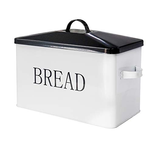 Vintage Metal Bread Bin-Countertop Space-Saving Bread Box For Kitchen Countertop-Extra Large Metal Bread boxes Farmhouse Style Bread Bin-White with Black Letters Storage Container