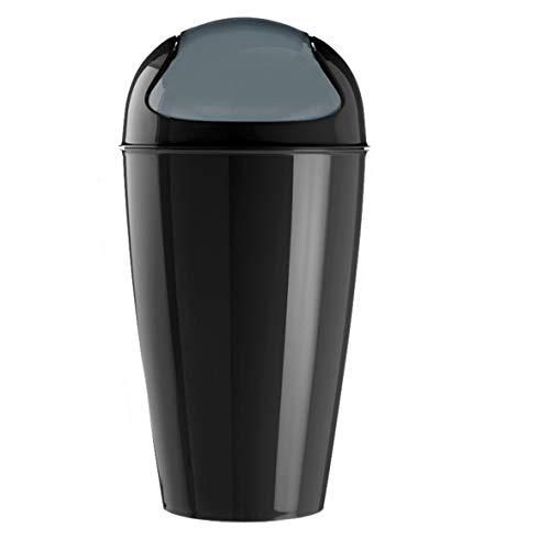 koziol Schwingdeckeleimer 30 L Del XL, Kunststoff, solid schwarz, 34 x 34 x 64,8 cm