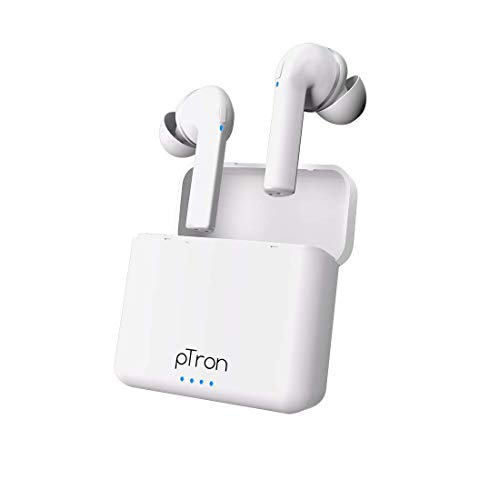 pTron Bassbuds Vista in-Ear True Wireless Bluetooth 5.1 Headphones with Deep Bass, IPX4 Water/Sweat Resistant, Passive Noise Cancelation, Voice Assistance & Earbuds with Built-in HD Mic - (White)