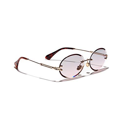 Hengtaichang Sunglasses Rimless Oval Women Sunglasses NEW Men Gradient Transparent Sun Glasses Retro High Quality Eyeglasses Fashion Trendy 80 C4