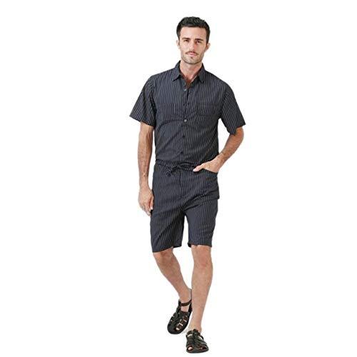 HOSDSummer Heren Bib Cargo Korte Broek Jumpsuits Mode Gestreept Ontwerp Zwart Een Stuk Overall Man Rompers