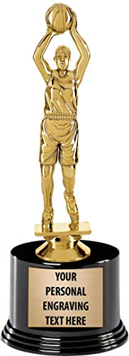 "Crown Awards Basketball Trophies with Custom Engraving, 7.25"" Personalized Girls Basketball Team Trophy On Deluxe Round Base 1 Pack Prime"