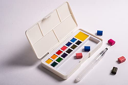 Watercolor Paint Set -12 Assorted Colors Professional Watercolor Kit with 1 Blending Paint Brush and 1 Mixing Palette Inside - Perfect for Kids, Students, Beginners, Artists and More… (12 Color)