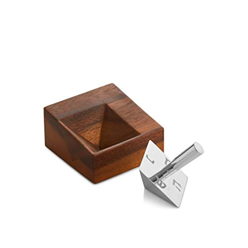 Nambe - Holiday Collection - Hanukkah Geo Dreidel with Stand - Set of 2 Pieces - Made with Nambe Alloy and Acacia Wood - Designed by Mikaela Dorfel