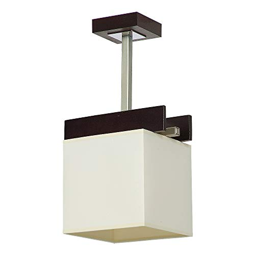 Elegante Deckenleuchte in Venge Beige Bauhausstil 1x E27 bis zu 60 Watt 230V aus gewebten Stoff & Metall Küche Esszimmer Lampen Leuchte Beleuchtung