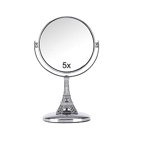 cbda lipsticks YAVOCOS Mini Travel Makeup Desk Table Mirror Double Sided 5X Magnifying Metal Compact 360 Degree Rotation Stand Cosmetic Mirror Makeup Tools (3.7 X 5.9'')
