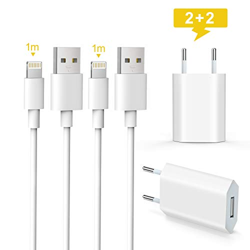 Everdigi Phone Ladekabel und 5W USB Ladegerät Stecker 1M*2+2 USB Netzteile für iPhone XS/XS Max/XR/X/ 8/8 Plus/ 7/7 Plus/ 6s/ 6/6 Plus/ 5S/ 5 ipad air pods