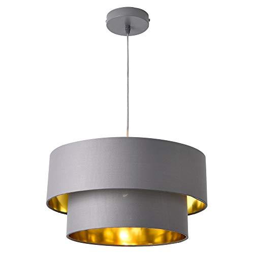 lux.pro Hängeleuchte E27 Deckenleuchte Hängelampe 40 cm Metall Stoff Grau-Gold