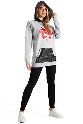 Disney Sudaderas Mujer, Sudadera Mujer con Capucha de Minnie y Mickey Mouse y Lentejuelas, Merchandising Oficial Regalos para Mujer y Adolescente Talla S-XL (Gris, M)