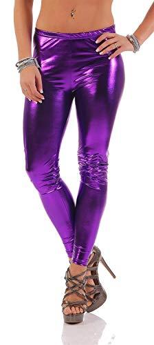 AE Leggings Metallic Latex Wet Look Lack Leder Optik Gr. S M L XL XXL 3X 4XL, 1905 Lila L/40