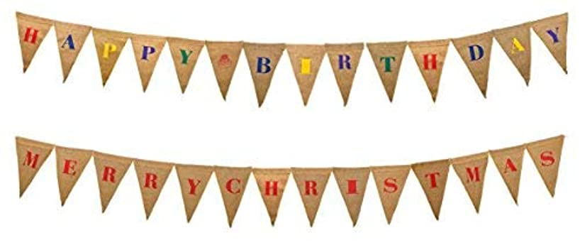 Firefly Craft Reversible Happy Birthday and Merry Christmas Burlap Banner