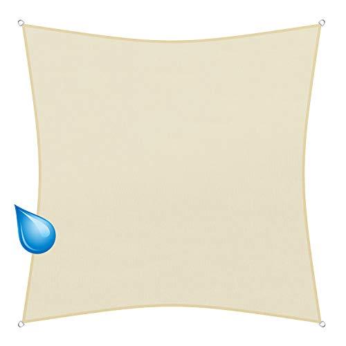 sunprotect 83269 Waterproof Toldo / Vela de Sombra, 3 x 3 m, cuadrado, crema