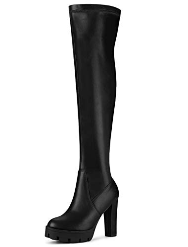 Allegra K Women's Platform Heels Chunky Heel Black Over Knee High Boots 9.5 M US