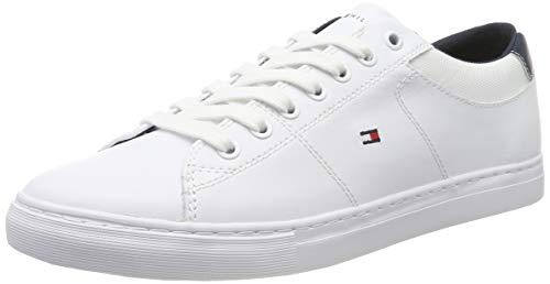 Tommy Hilfiger Herren Essential Leather Collar Vulc Sneaker, Weiß (White Ybr), 42 EU