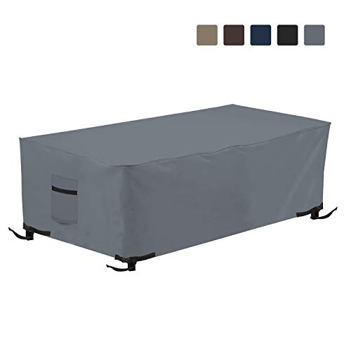 Fire Pit Outdoor Covers Rectangular Waterproof, 100% UV Resistant, 12 Oz PVC Heavy Duty Fabric with Air Pockets and Drawstring for Snug fit to Withstand Winds & Storms. (38\