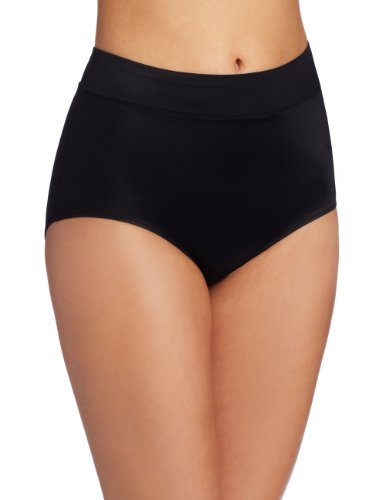 Warner's Women's No Pinching No Problems Modern Brief Panty, Rich Black, 10