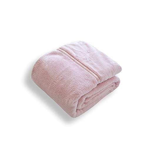 Decke Flanell Single Doppeldecke Winter-Doppel Padded Nap Blanket Schal Feine Faserplatten-Sofa Little (Color : Pink, Size : 140 * 200cm)