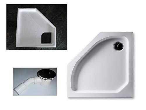 KOMPLETT-PAKET: Duschwanne 90 x 90 cm Fünfeck, flach 6,5 cm weiß Acryl + Styroporträger/Wannenträger + Ablaufgarnitur chrom DN 90
