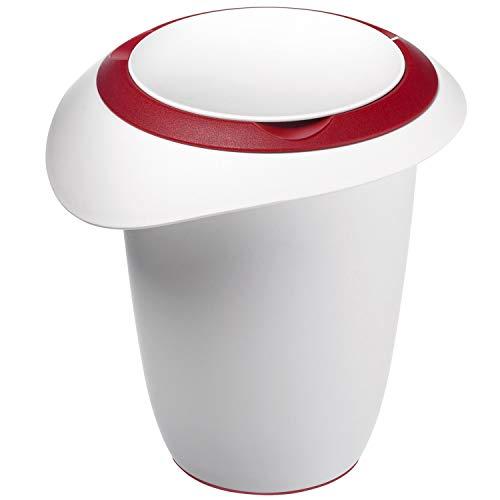 Westmark Quirltopf mit zweigeteiltem Deckel, 1 l, Mit Ausgießer, Kunststoff, Weiß/Rot, 3151227R