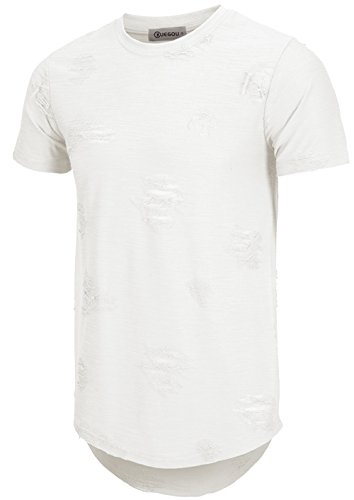 KLIEGOU Mens Hipster Hip Hop Ripped Round Hemline Hole T Shirt(1705) (Large, White)