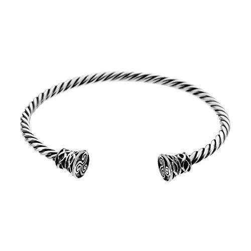 Celtic Treasures, Celtic Twisted Torque Bangle Bracelet, 925 Sterling Silver