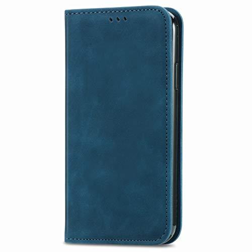 Unichthy Schutzhülle für Samsung Galaxy S30, stoßfest, PU-Leder, mit Magnetverschluss, mit Standfunktion, Kartenhalter, Blau