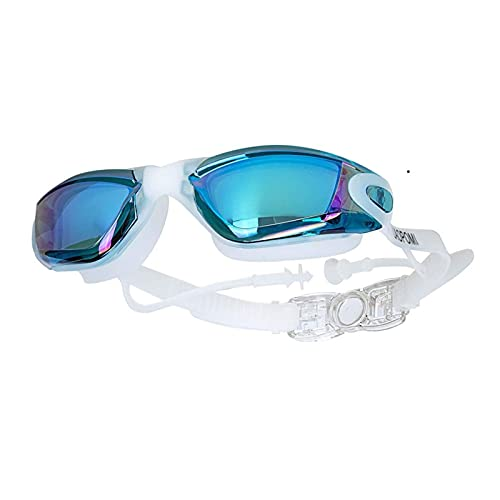 JYDZSW Gafas de natación Gafas de natación Mujeres Hombres Ajustables UV Proteger a Prueba de Agua antiiezueja Gafas de natación buceos de Buceo Vasos de Agua (Color : Sky Blue with Ears)