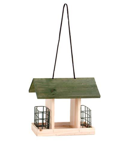 Spetebo Holz Vogel Futterhaus 24 cm zum Hinstellen oder Aufhängen - Großes Streufutterfach und 2 Körbe - Futterstation Vogelhäuschen Futterstelle Futterspender