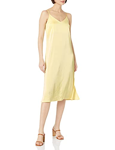 The Drop Ana Vestido de estilo lencero de largo medio y efecto de seda con cuello de pico Mujer