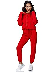 Tazzio Damen Jogginganzug Trainingsanzug Sport Freizeit Hoodie & Jogginghose F200 Rot M