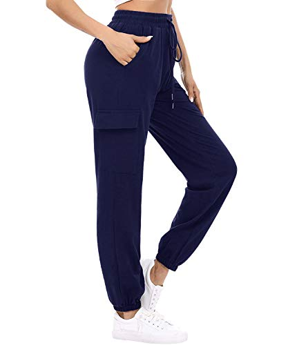 Pantalon de Sport Femme,Pantalons de Survêtement Jogging Yoga Running Fitness Gym Casual Long avec Poches Cordon de Serrage Bleu Marin XL