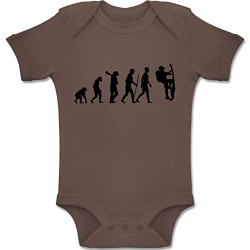 Shirtracer Evolution Baby - Klettern Evolution - 3/6 Monate - Braun - BZ10 - Baby Body Kurzarm für Jungen und Mädchen