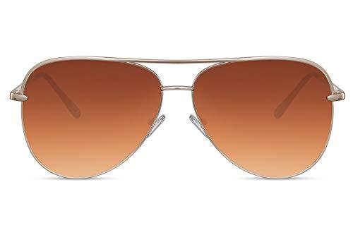 Cheapass Gafas de Sol Grandes Metálicas Gafas Piloto Mujer Montura XL Oversize Dorada con Cristales Marrones Gradiente UV400