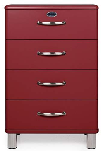 Tenzo Malibu Designer Commode 4 tiroirs, Acier, Rouge (Bordeaux), 60 x 41 x 92 cm