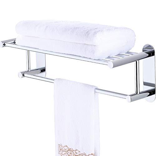 Uioy Handtuchhalter - Handtuchhalter aus rostfreiem Stahl mit doppelter Saugnapfstange (Farbe : Silver)
