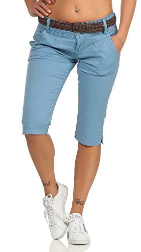 Fresh Made Damen Capri Chino Shorts LFM-154 3/4-Hose mit Gürtel Dream Blue S