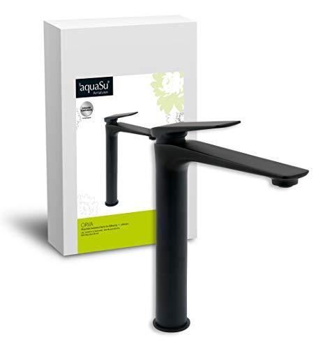 'aquaSu® Hohe Waschtischarmatur Orva in schwarz mit Schaftventil für Waschbecken ohne Überlauf, hoch mit 20 cm Ausladung, Einhebelmischer aus Messing mit Keramikkartusche, 77020 0