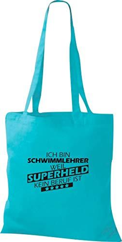 Shirtstown Stoffbeutel, Ich bin Schwimmlehrer, weil Superheld kein Beruf ist, Spruch Sprüche, Tasche Beutel, Jute, Shopper, einkaufen Logo Motiv Ausbildung Beruf, hellblau