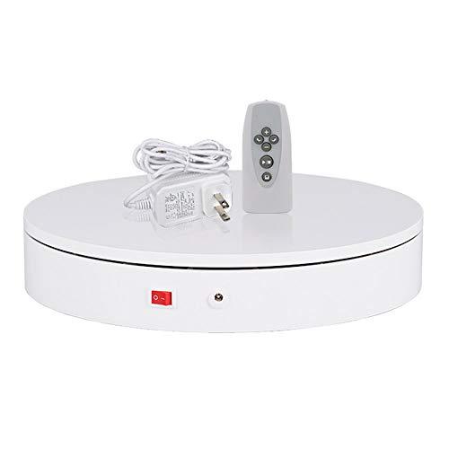 LINGOSHUN Plato giratorio eléctrico con control remoto por infrarrojos multifuncional, 60 kg de carga, soporte de visualización de rotación de 360°,220 V, color blanco y 40 cm de diámetro