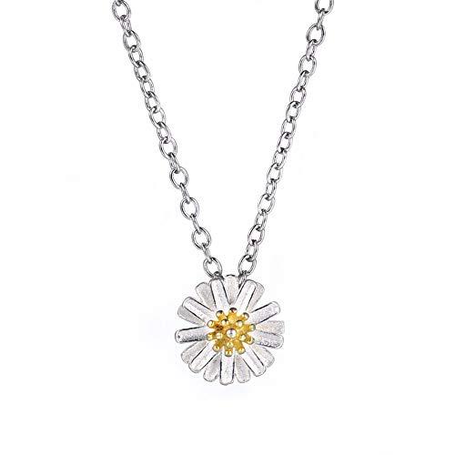MOOKO Damen s925 Sterling Silber Halskette Mini Chrysantheme Silber Halskette Für Mädchen Memorial Geschenk
