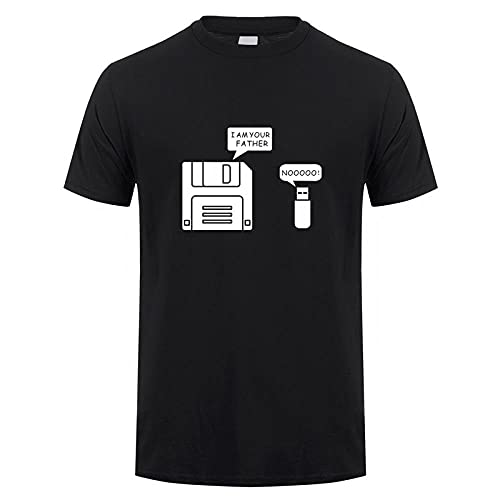 CLJKJDS Nuevo Disquete USB Soy Tu Padre Camiseta Hombre Algodón Manga Corta Humor Disk Camiseta Casual (Color : Black, Size : M)