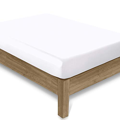 Amazon Brand - Sábana bajera Umi de 400 hilos, 100% algodón, color blanco puro, con bolsillos elásticos, 200 x 200 cm