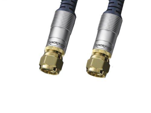 Clicktronic HC 601-1000 Antennenkabel (SAT F-Stecker, mit Ferritkernen, vergoldete Kontakte) 10 m