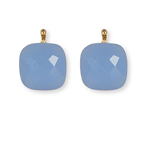 HEIDE HEINZENDORFF Einhängerpaar facettiertes Quarzglas, Bleu, Gold