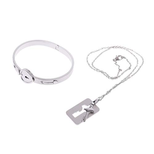 VVXXMO Women Men Couple Titanium Steel Lock Bangle,young Couple Bracelet & Key Pendant,Necklace Love Sets Gift