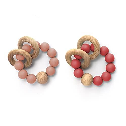 I LOVE MOM 2PCS Anillas Madera Mordedor Pulsera Montessori Bebe Kit Juguetes de Madera Kit Sonajero Mordedor Bebe,Anillo Madera Natural, Perlas Silicona Alimentaria (-2)