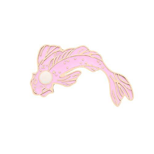 Yin Yang Fischstifte Cartoon Koi Karpfen Broschen Frauen Männer Jeans Jacken Revers Emaille Pin Japanische Fischtasche Abzeichen Kinder Schmuck Geschenke, Pink Weiß, China