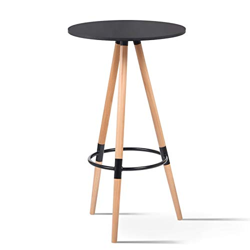 IDMarket - Table Haute de Bar Ronde scandinave Sara Noire