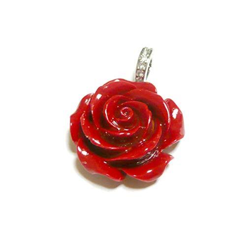 【 花 纏い/可動 バチカン 】 薔薇 赤珊瑚 (25mm) ペンダント トップ